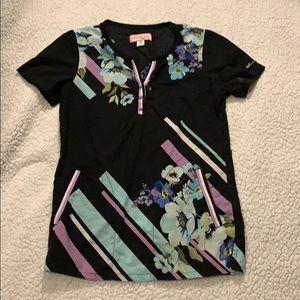 KOI black flowered scrub top size XS